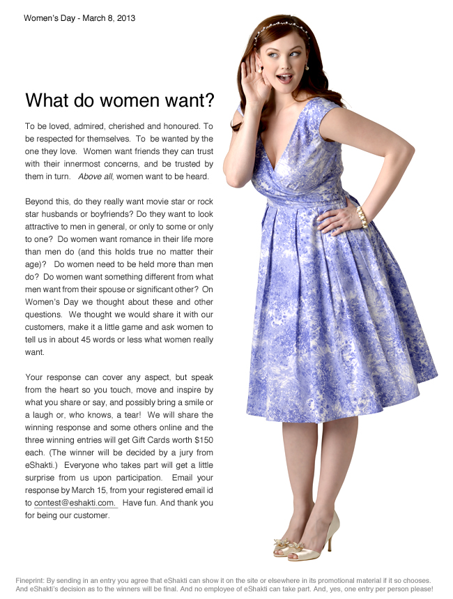 what women want essay This essay on gender roles and stereotypes was written in defense of women learn why many of the preconceived beliefs society has about women are false.