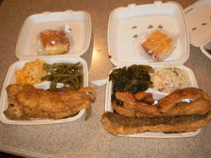 Fried Whiting with Collard Greens, String Beans, Mac n Cheese and Cole Slaw
