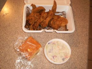 Fried Chicken Wings, Corn Bread and Cole Slaw