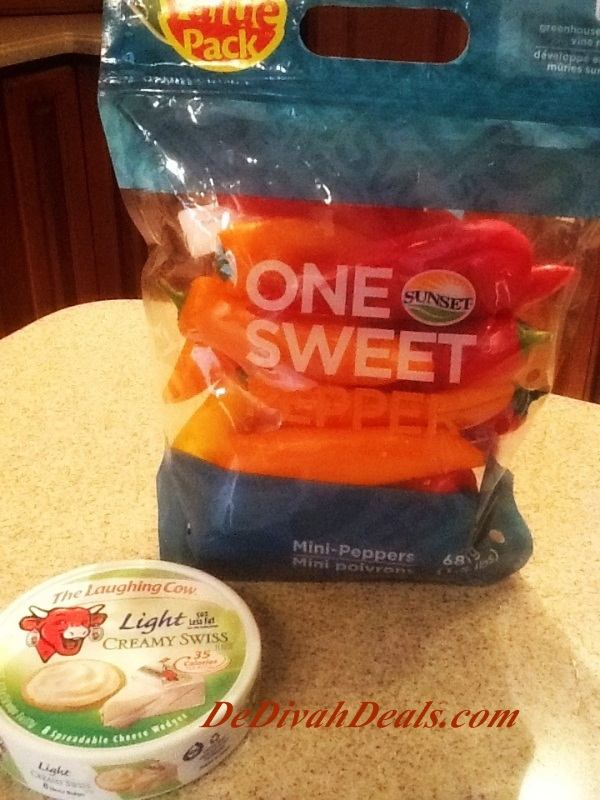 mini sweet peppers and laughing cow cheese